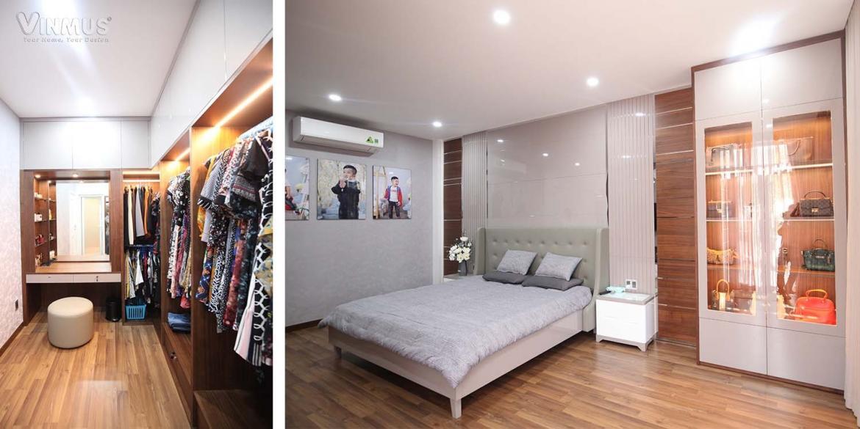 Phòng ngủ master được đầu tư bố trí rộng rãi, được liên kết với phòng thay đồ tiện lợi.